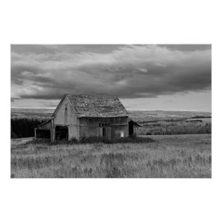 "Old Barn with Sky ""Black and White"" Poster"