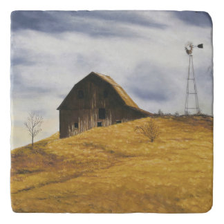 Old barn with windmill trivets