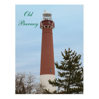 Old Barney Lighthouse NJ Postcard