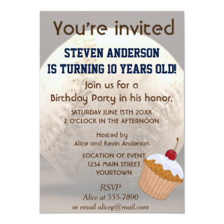 "Old Baseball Birthday Party 5"" X 7"" Invitation Card"