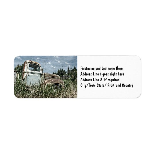 Old Beater Truck - Rusty Vintage Farm Vehicle Return Address Label