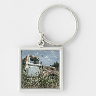 Old Beater Truck - Rusty Vintage Farm Vehicle Silver-Colored Square Keychain