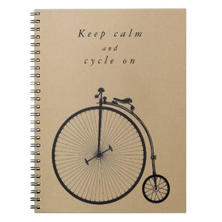 Old bicycle, bike, velocipede - to cycle quotes spiral notebook