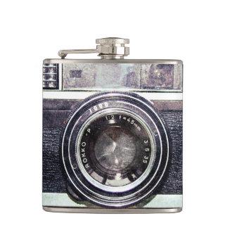 Old black camera hip flask