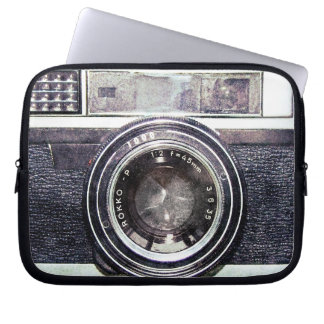 Old black camera laptop sleeve