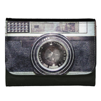 Old black camera leather wallet