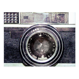 Old black camera postcard