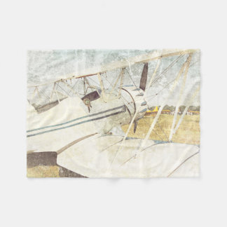 Old Blue Airplane Biplanes Fleece Blanket Small
