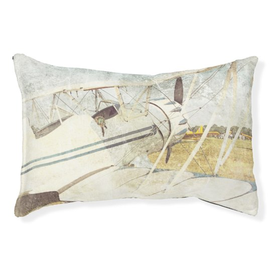 Old Blue Antique Airplane Small Dog Bed Pillow