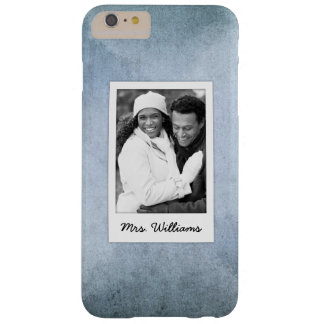 Old Blue & Black Watercolor Paper | Add Photo Barely There iPhone 6 Plus Case