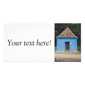 Old blue house customized photo card