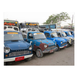 Old Blue Mazdas Taxis Postcard