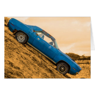 Old Blue Plymouth Barracuda Greeting Card