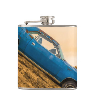 Old Blue Plymouth Barracuda Hip Flask