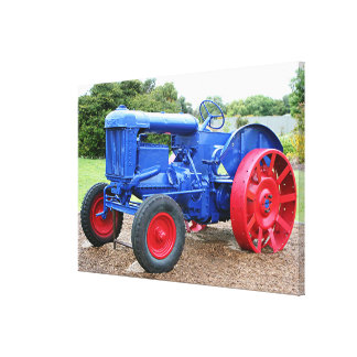 Old Blue & Red Tractor Canvas Print