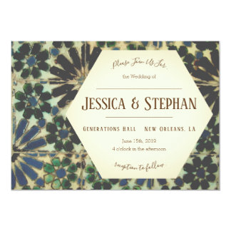 Old Blue Tiles Wedding Invitation