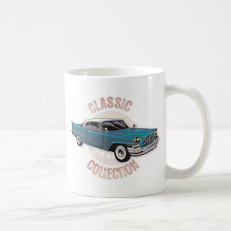 Old blue vintage car with white hardtop roof mugs
