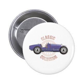 Old blue vintage racing car used on the track 2 inch round button