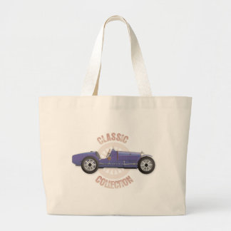 Old blue vintage racing car used on the track large tote bag