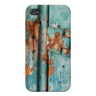 Old blue wooden door with rusted latch iPhone 4 cover