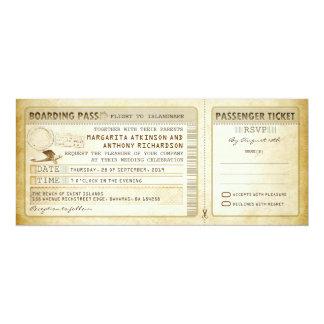 "old boarding pass wedding tickets-invites & rsvp 4"" x 9.25"" invitation card"