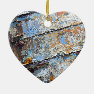Old boat blue cracked texture ceramic heart ornament