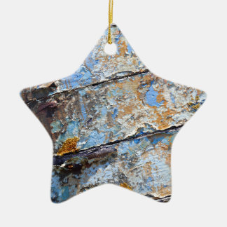 Old boat blue cracked texture ceramic ornament