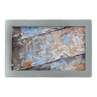 Old boat blue cracked texture rectangular belt buckles