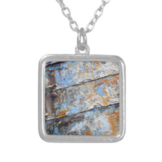 Old boat blue cracked texture silver plated necklace