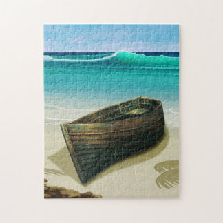 Old Boat by Sea Tropical Beach Puzzle