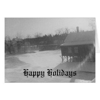 Old Boat House at Christmas Card