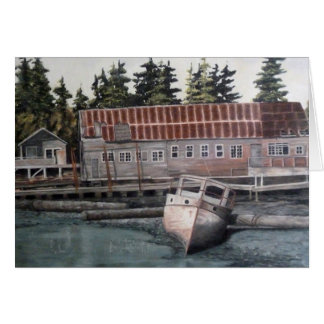 Old Boat House & Fishing Boat Card
