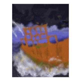 Old Boat in Storm Art Letterhead