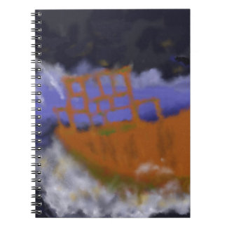 Old Boat in Storm Art Note Book