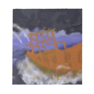Old Boat in Storm Art Notepad
