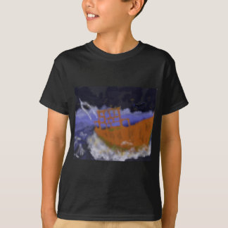 Old Boat in Storm Art T-Shirt