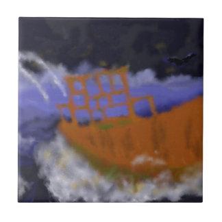 Old Boat in Storm Art Tiles
