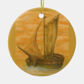 Old Boat Round Ceramic Ornament