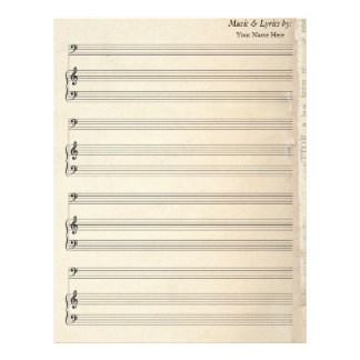 Old Book Page Blank Sheet Music Bass Clef
