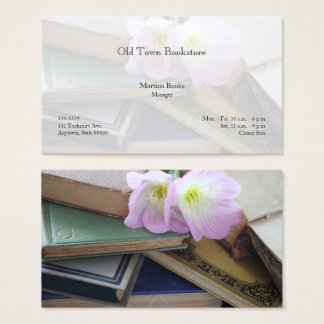 Old books with primroses business card