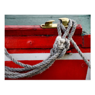 Old Bow Ropes On Brass Cleat On Canal Boat Postcard