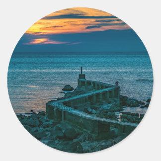 Old Breakwater, Montevideo, Uruguay Classic Round Sticker