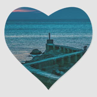 Old Breakwater, Montevideo, Uruguay Heart Sticker