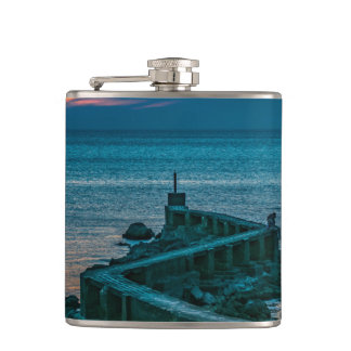 Old Breakwater, Montevideo, Uruguay Hip Flask