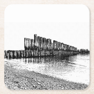 old breakwater square paper coaster