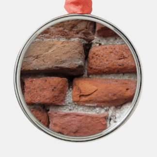Old brick wall background Silver-Colored round ornament