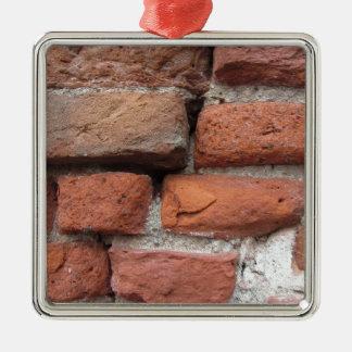 Old brick wall background Silver-Colored square ornament