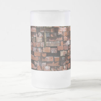 Old Bricks Abstract Frosted Glass Beer Mug