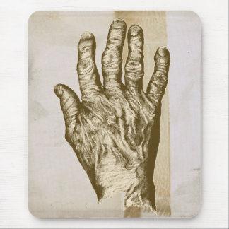 Old Brown Hand Grunge Drawing Mouse Pad