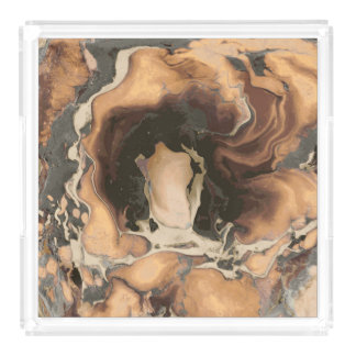 Old Brown Marble texture Liquid paint art Acrylic Tray